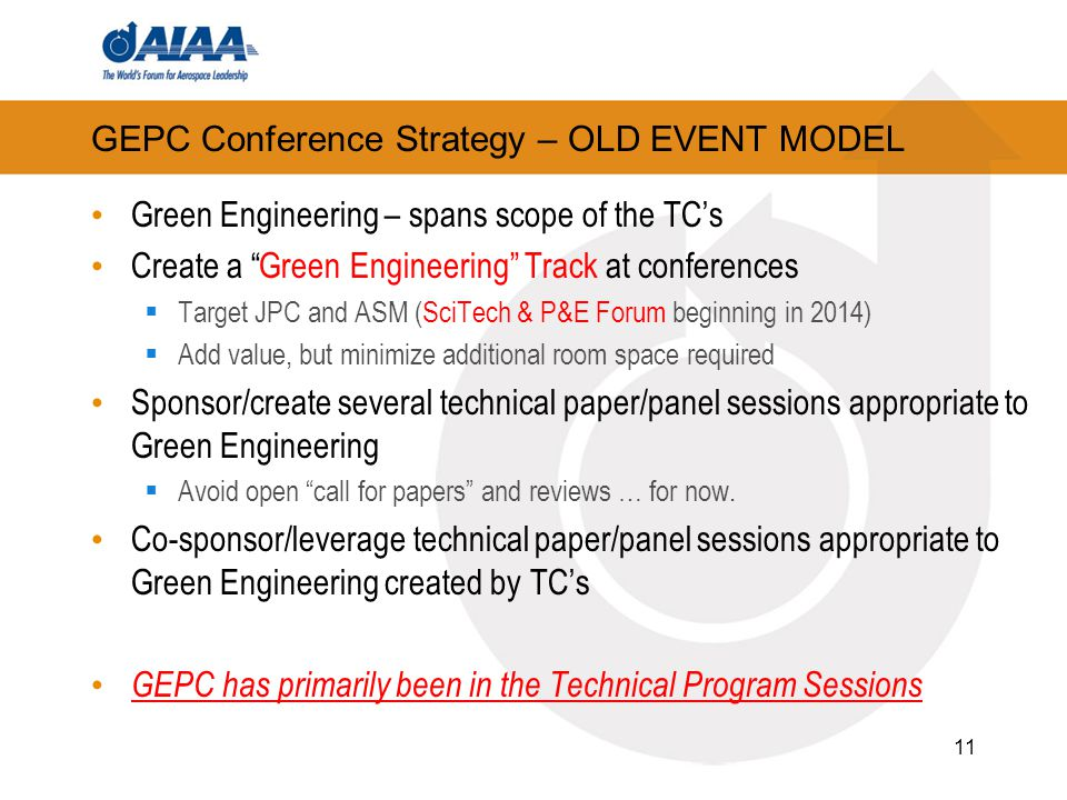 GEPC Conference Strategy – OLD EVENT MODEL