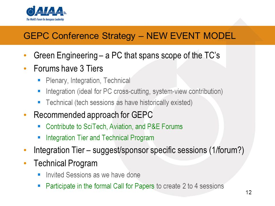 GEPC Conference Strategy – NEW EVENT MODEL