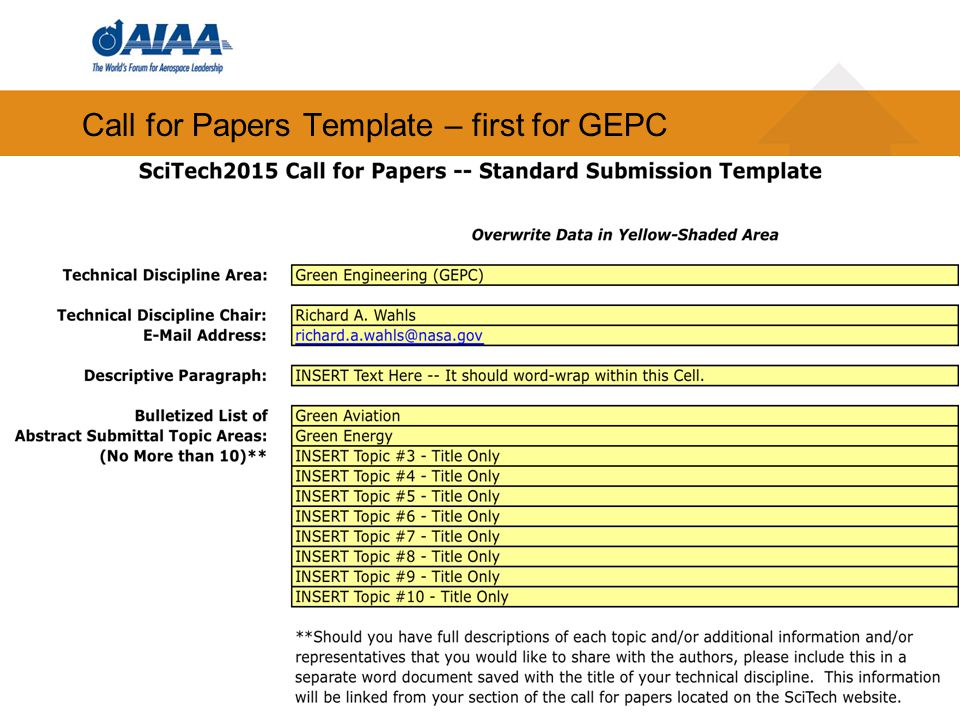 Call for Papers Template – first for GEPC