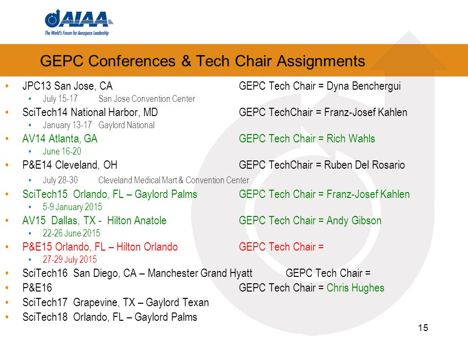 GEPC Conferences & Tech Chair Assignments