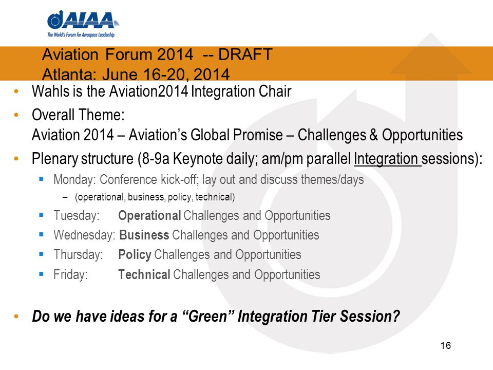 Aviation Forum 2014 -- DRAFT Atlanta: June 16-20, 2014