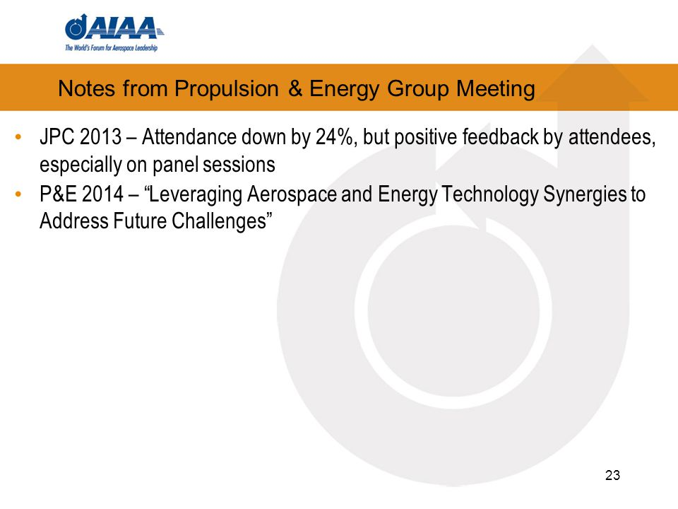 Notes from Propulsion & Energy Group Meeting