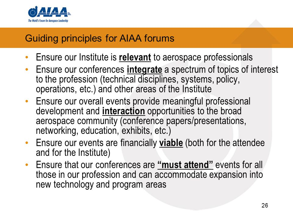 Guiding principles for AIAA forums