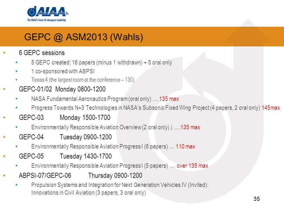 GEPC @ ASM2013 (Wahls) 6 GEPC sessions GEPC-01/02 Monday 0800-1200