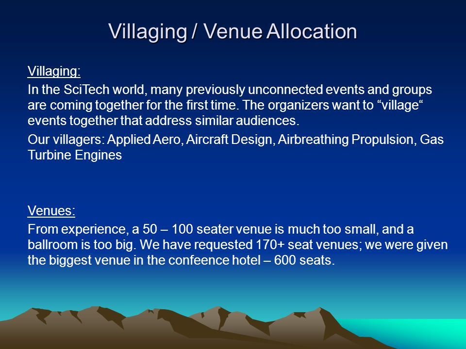 Villaging / Venue Allocation