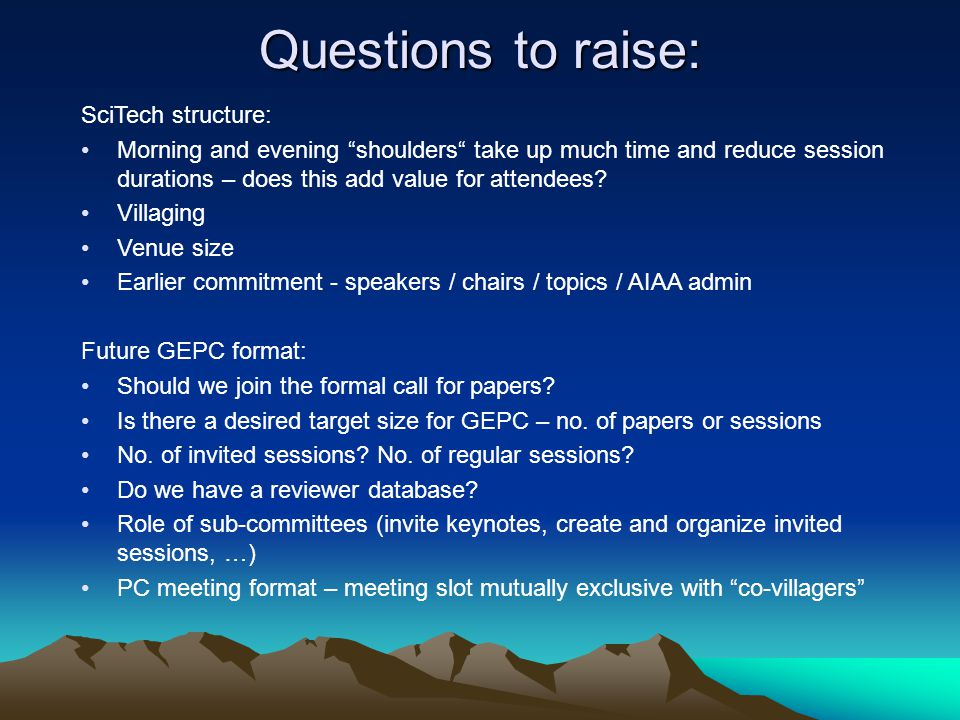 Questions to raise: SciTech structure: