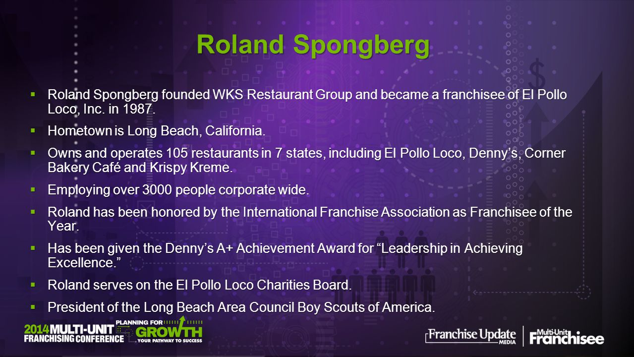 Roland Spongberg Roland Spongberg founded WKS Restaurant Group and became a franchisee of El Pollo Loco, Inc. in 1987.
