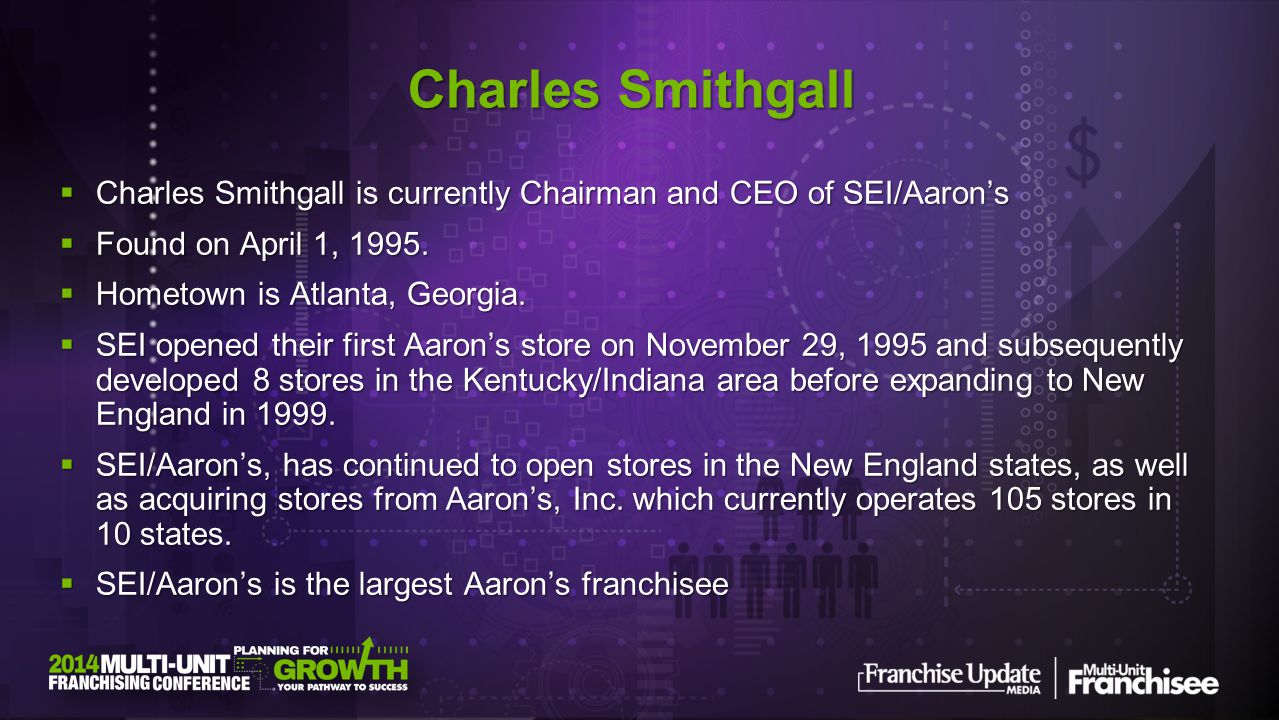 Charles Smithgall Charles Smithgall is currently Chairman and CEO of SEI/Aaron's. Found on April 1, 1995.