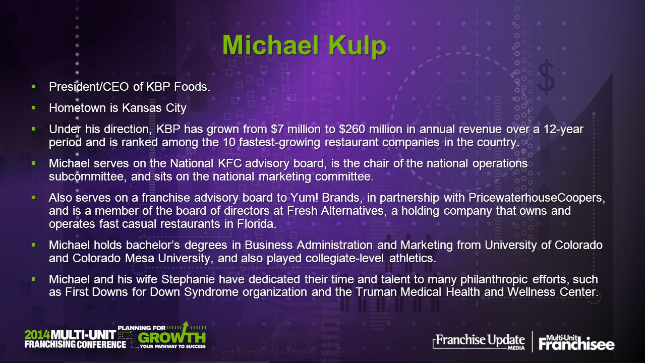 Michael Kulp President/CEO of KBP Foods. Hometown is Kansas City