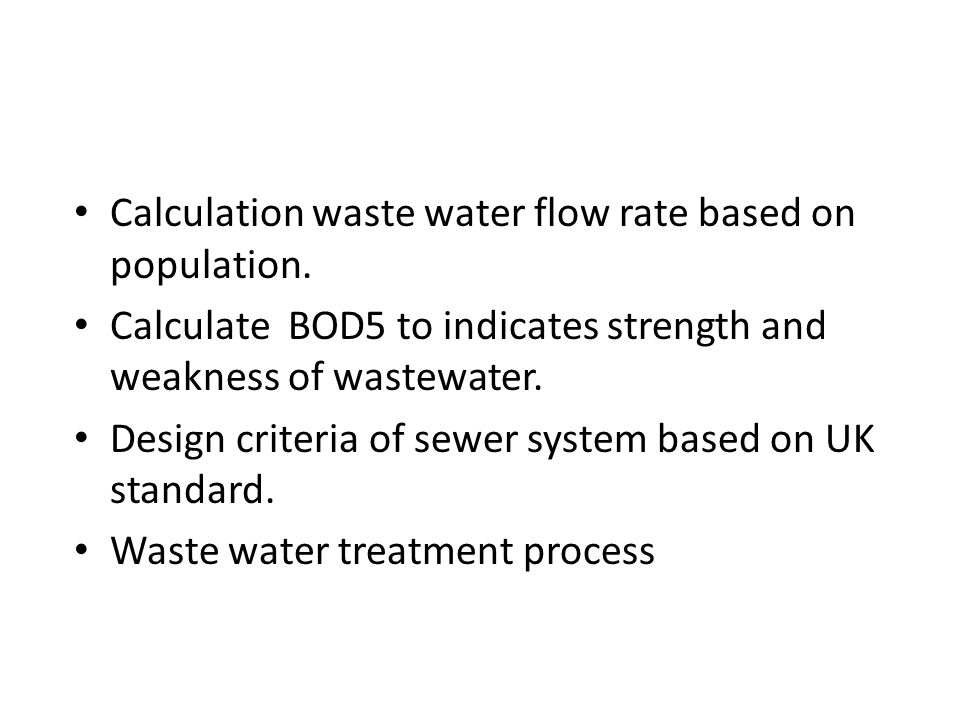 Calculation waste water flow rate based on population.