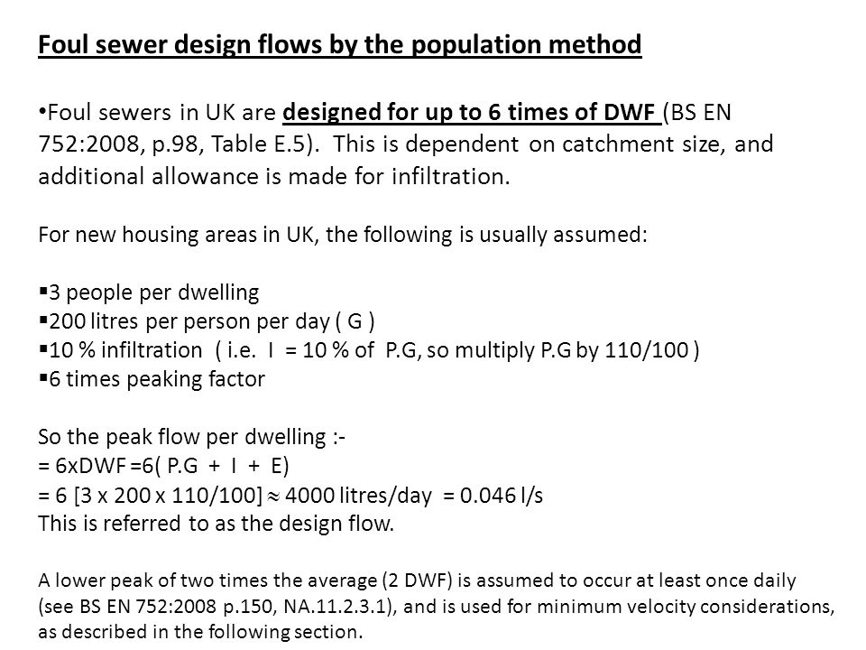 Foul sewer design flows by the population method