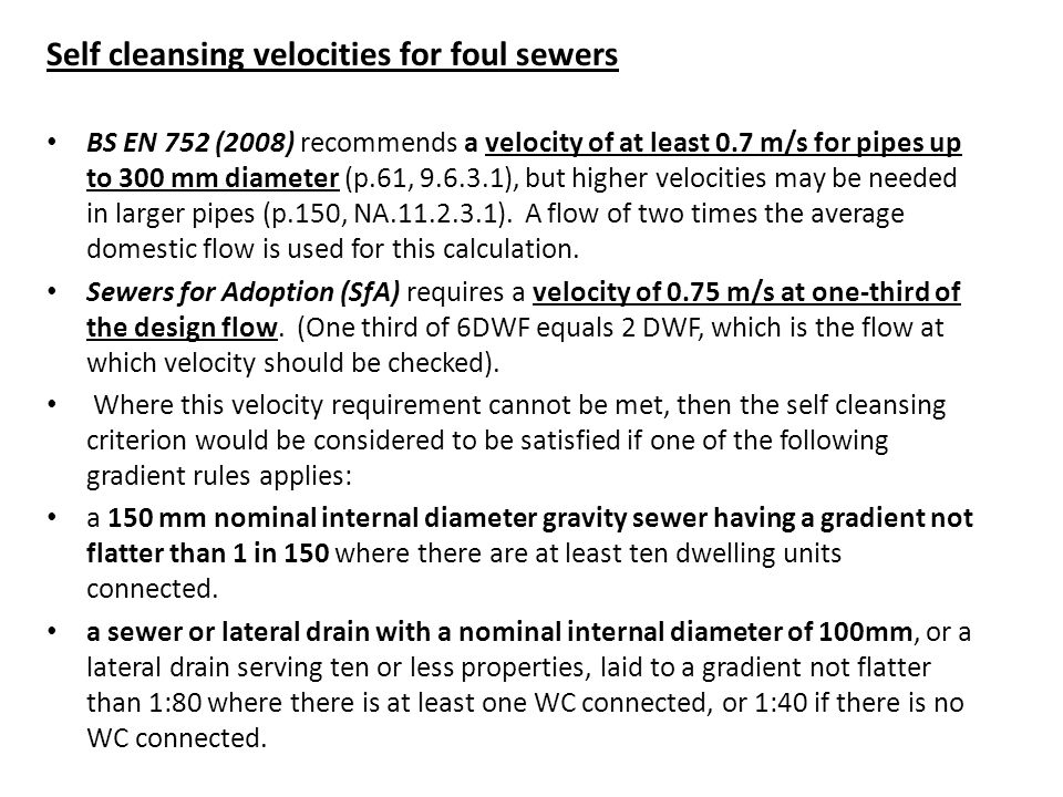 Self cleansing velocities for foul sewers