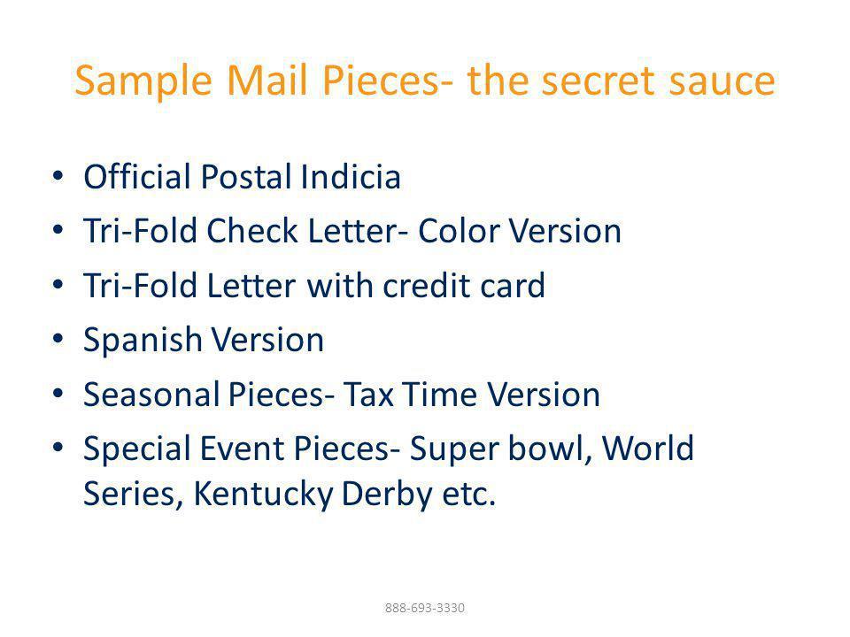 Sample Mail Pieces- the secret sauce