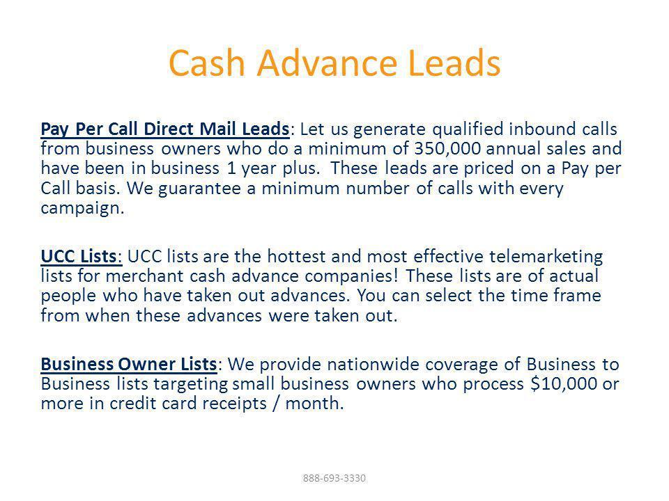 Cash Advance Leads
