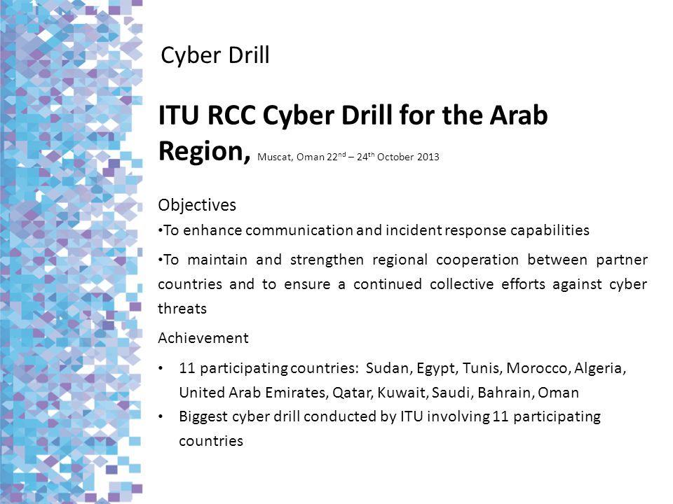 Cyber Drill ITU RCC Cyber Drill for the Arab Region, Muscat, Oman 22nd – 24th October 2013. Objectives.