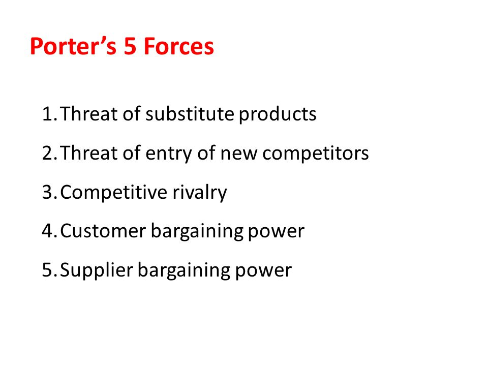 Porter's 5 Forces Threat of substitute products