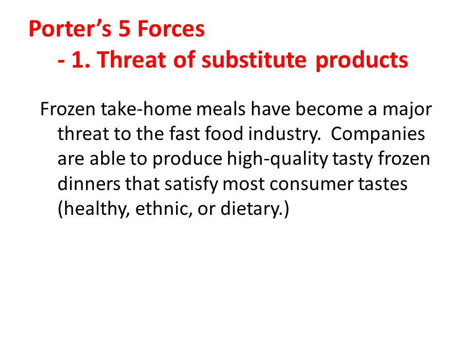 Porter's 5 Forces - 1. Threat of substitute products