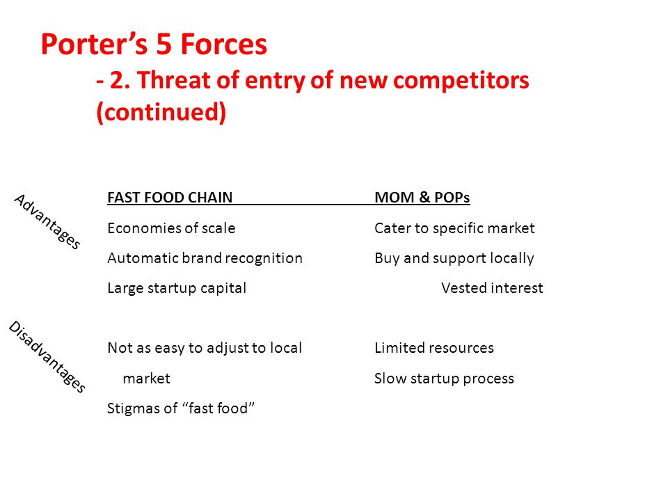 Porter's 5 Forces - 2. Threat of entry of new competitors (continued)