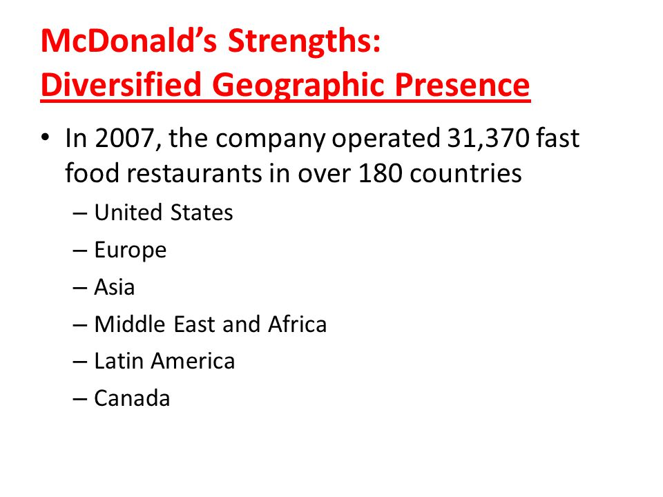 McDonald's Strengths: Diversified Geographic Presence