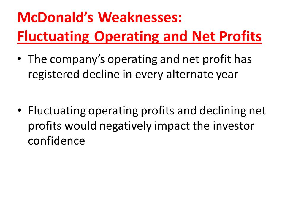 McDonald's Weaknesses: Fluctuating Operating and Net Profits