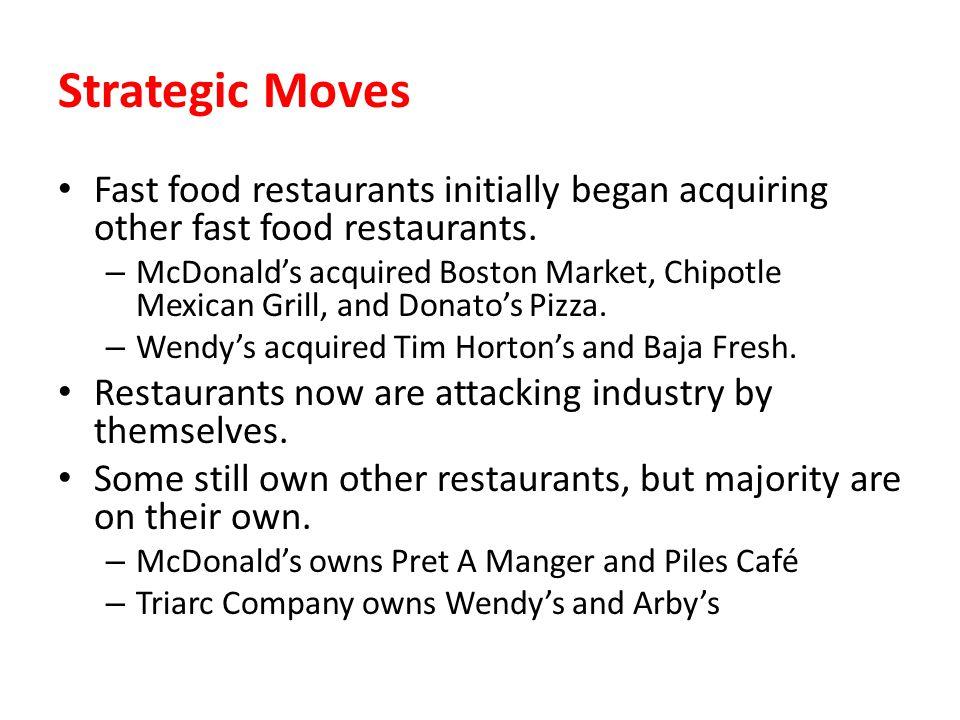 Strategic Moves Fast food restaurants initially began acquiring other fast food restaurants.