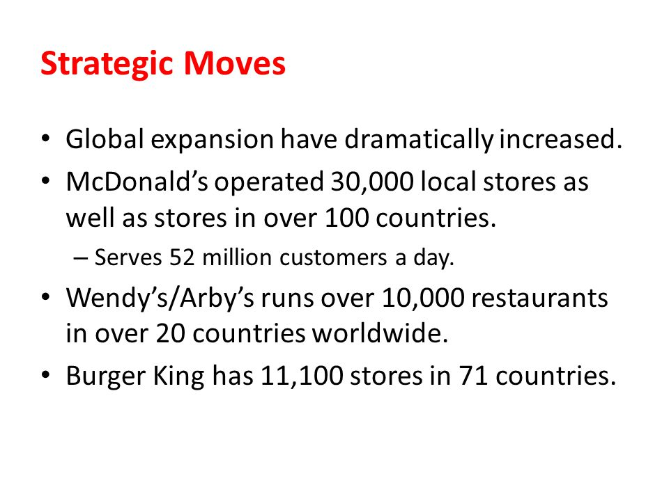 Strategic Moves Global expansion have dramatically increased.