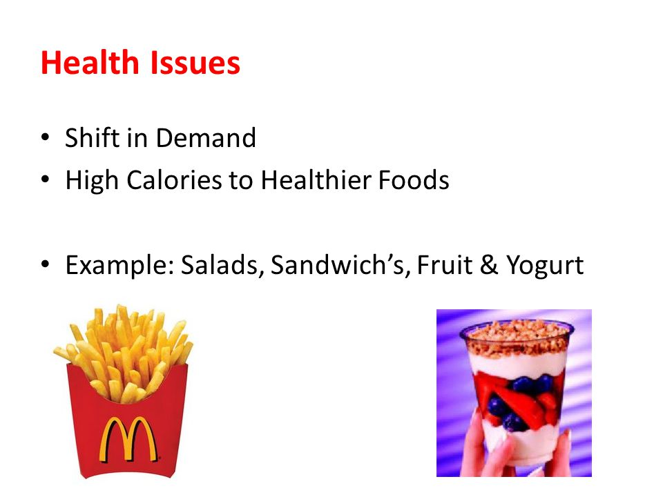 Health Issues Shift in Demand High Calories to Healthier Foods