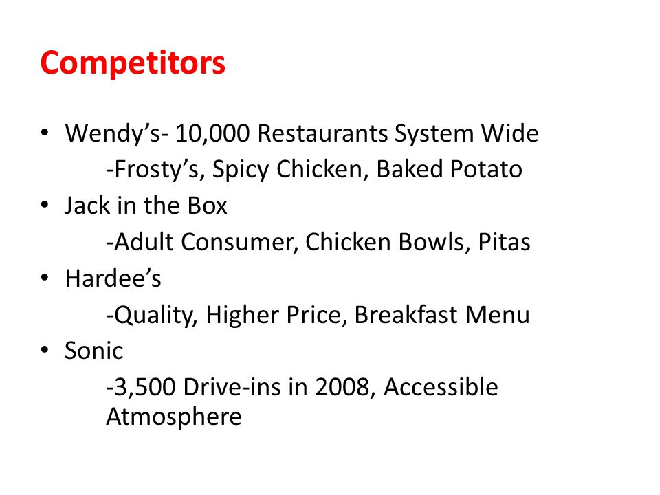 Competitors Wendy's- 10,000 Restaurants System Wide
