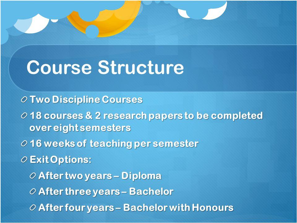 Course Structure Two Discipline Courses