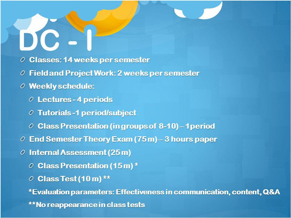 DC - I Classes: 14 weeks per semester