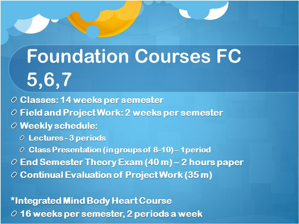 Foundation Courses FC 5,6,7 Classes: 14 weeks per semester