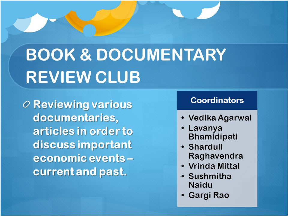 BOOK & DOCUMENTARY REVIEW CLUB