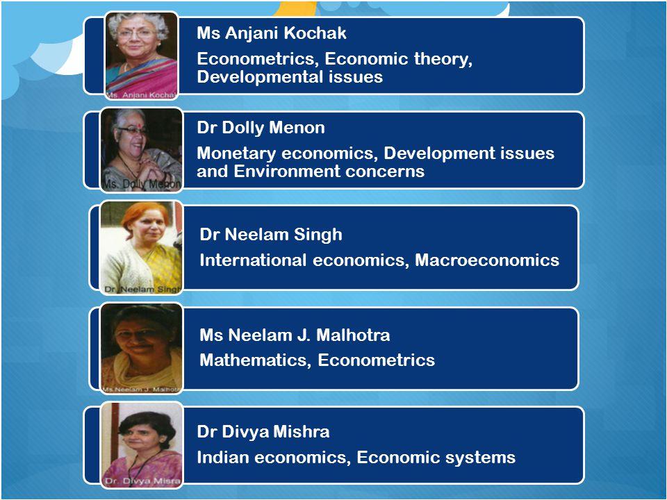 Ms Anjani Kochak Econometrics, Economic theory, Developmental issues. Dr Dolly Menon.
