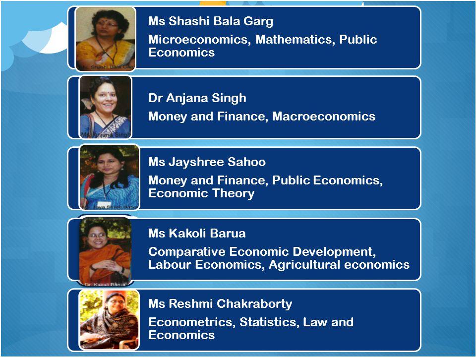 Ms Shashi Bala Garg Microeconomics, Mathematics, Public Economics. Dr Anjana Singh. Money and Finance, Macroeconomics.