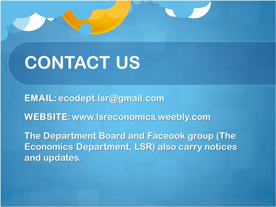 CONTACT US EMAIL: ecodept.lsr@gmail.com