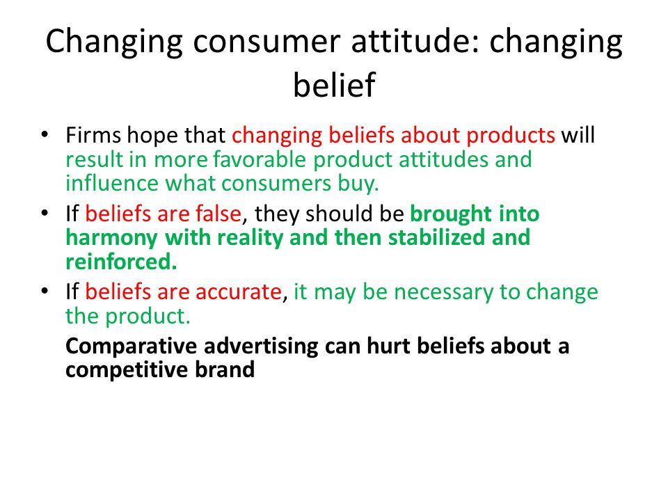 Changing consumer attitude: changing belief