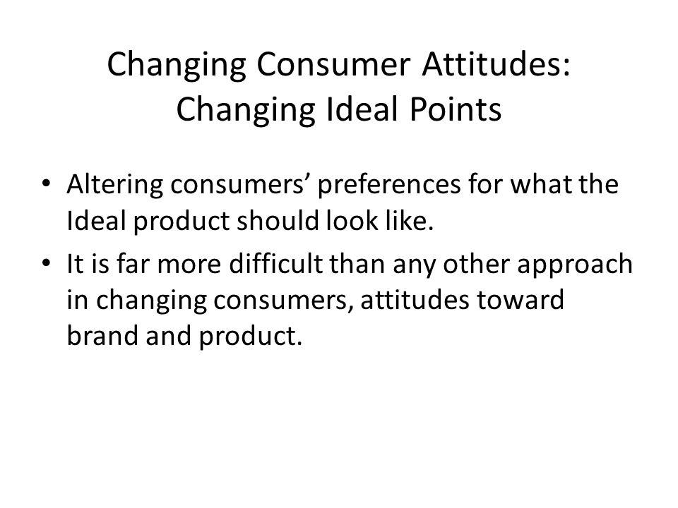 Changing Consumer Attitudes: Changing Ideal Points