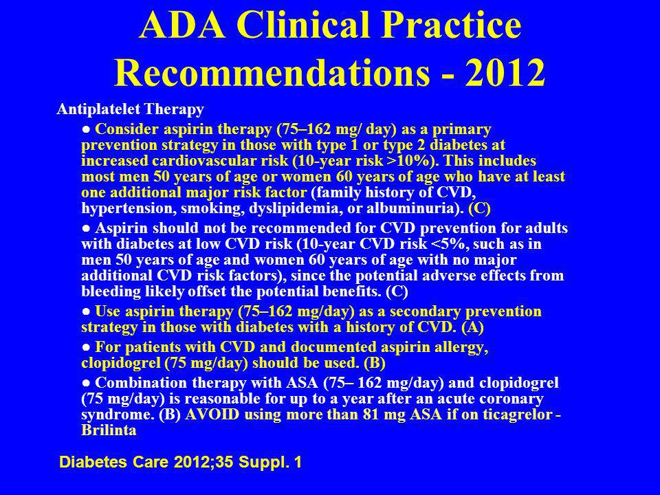 ADA Clinical Practice Recommendations - 2012