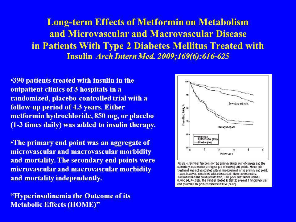Long-term Effects of Metformin on Metabolism and Microvascular and Macrovascular Disease in Patients With Type 2 Diabetes Mellitus Treated with Insulin Arch Intern Med. 2009;169(6):616-625