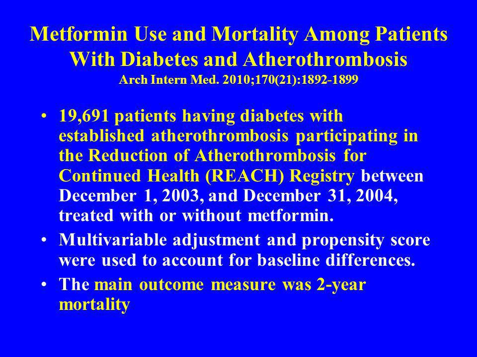 Metformin Use and Mortality Among Patients With Diabetes and Atherothrombosis Arch Intern Med. 2010;170(21):1892-1899