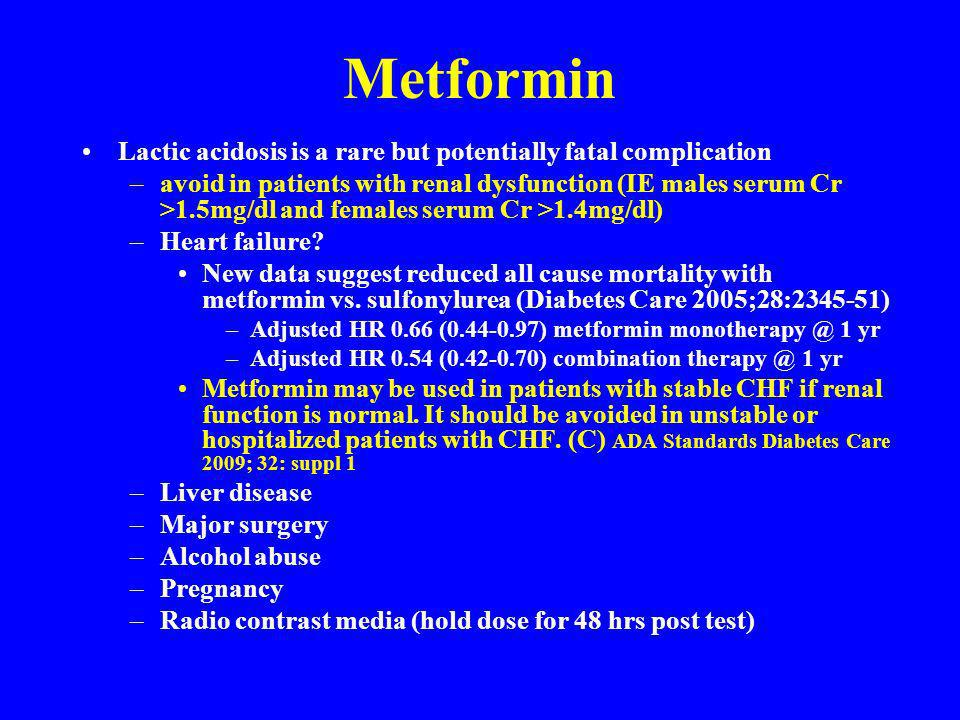 Metformin Lactic acidosis is a rare but potentially fatal complication