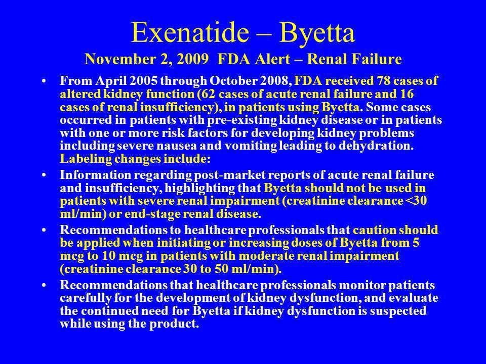 Exenatide – Byetta November 2, 2009 FDA Alert – Renal Failure