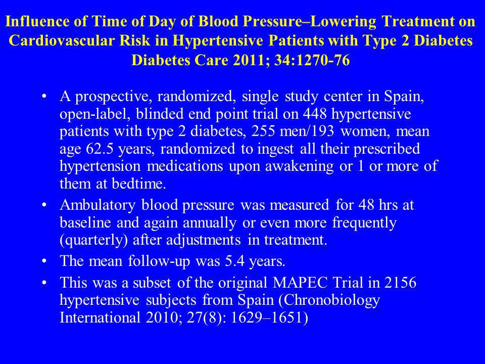 Influence of Time of Day of Blood Pressure–Lowering Treatment on Cardiovascular Risk in Hypertensive Patients with Type 2 Diabetes Diabetes Care 2011; 34:1270-76