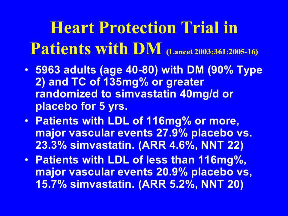 Heart Protection Trial in Patients with DM (Lancet 2003;361:2005-16)