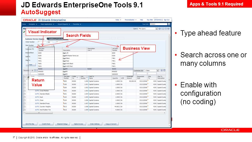 JD Edwards EnterpriseOne Tools 9.1 AutoSuggest