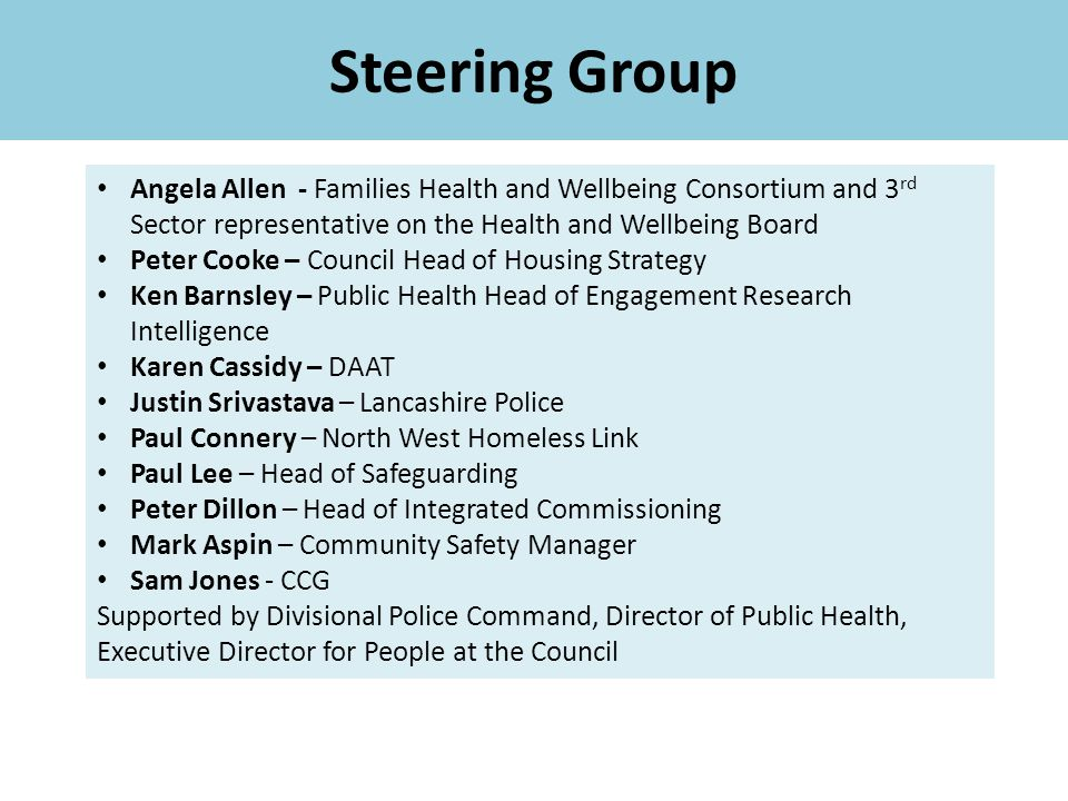 Steering Group Angela Allen - Families Health and Wellbeing Consortium and 3rd Sector representative on the Health and Wellbeing Board.