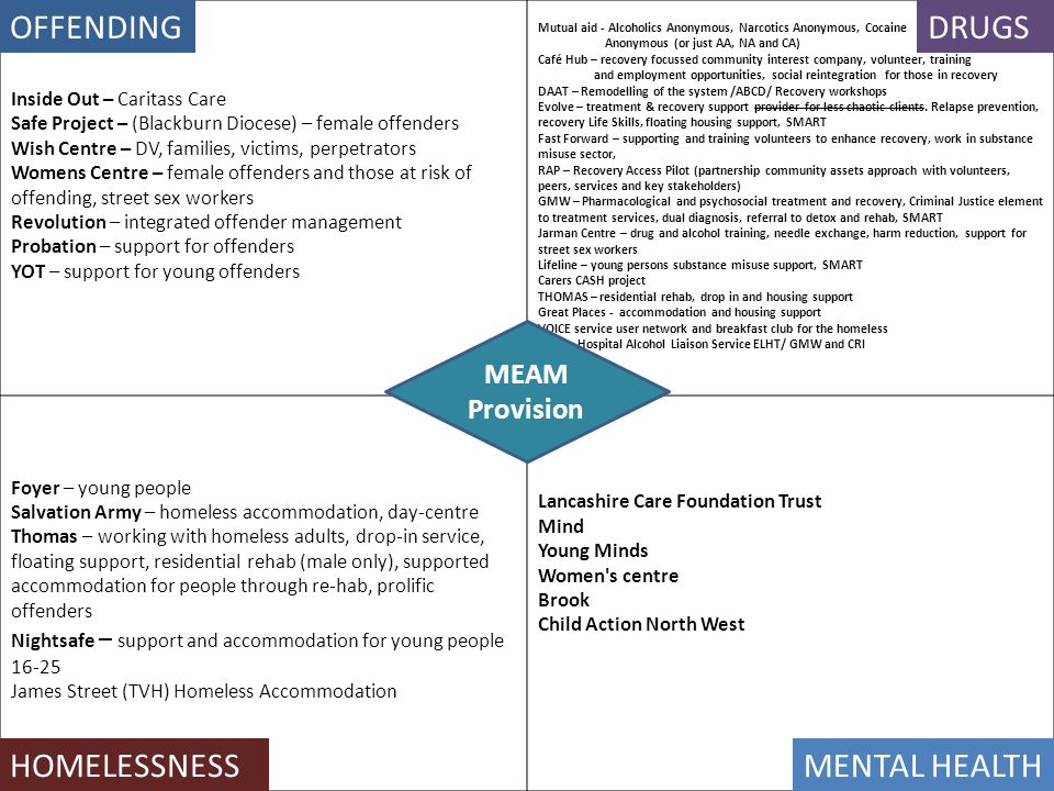 OFFENDING DRUGS HOMELESSNESS MENTAL HEALTH MEAM Provision