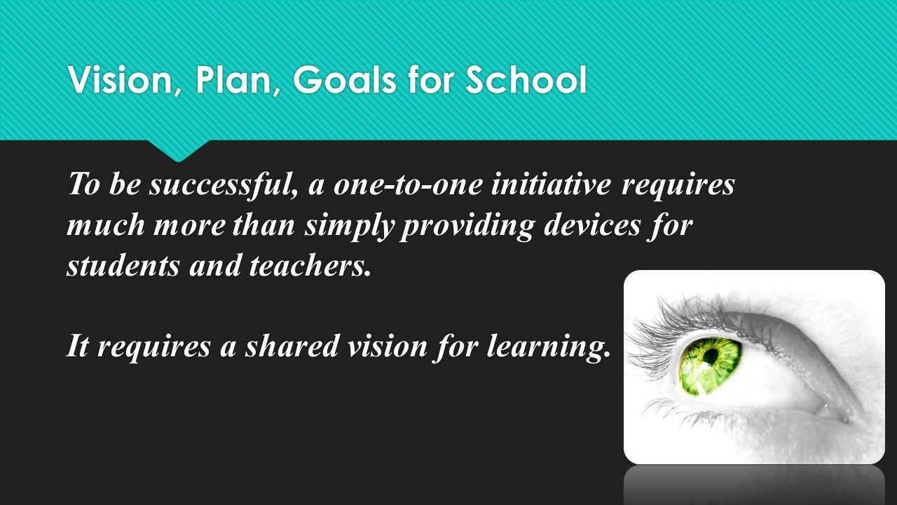 Vision, Plan, Goals for School