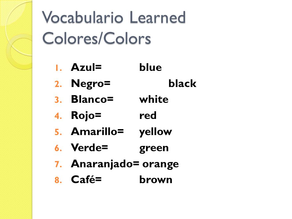 Vocabulario Learned Colores/Colors
