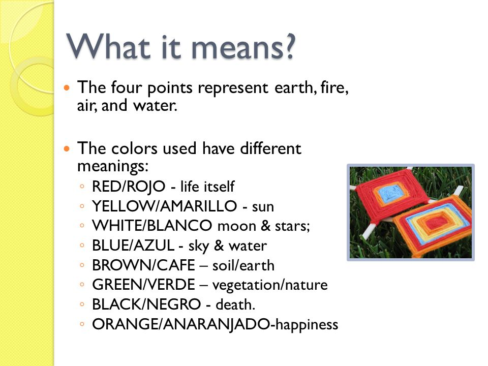 What it means The four points represent earth, fire, air, and water.